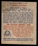 1949 Bowman #178  Tom Brown  Back Thumbnail