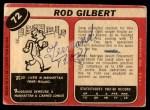 1968 O-Pee-Chee #72  Rod Gilbert  Back Thumbnail