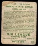 1934 Goudey #19  Lefty Grove  Back Thumbnail