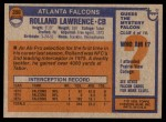 1976 Topps #350  Rolland Lawrence   Back Thumbnail