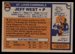 1976 Topps #363  Jeff West   Back Thumbnail