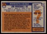 1976 Topps #385  Jim Marshall  Back Thumbnail