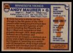 1976 Topps #309  Andy Maurer  Back Thumbnail
