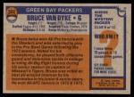 1976 Topps #322  Bruce Van Dyke  Back Thumbnail