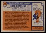 1976 Topps #349  Terry Hermeling   Back Thumbnail