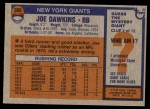 1976 Topps #386  Joe Dawkins  Back Thumbnail