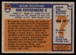 1976 Topps #390  Bob Kuechenberg  Back Thumbnail