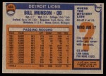 1976 Topps #404  Bill Munson  Back Thumbnail