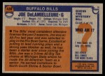 1976 Topps #430  Joe DeLamielleure  Back Thumbnail