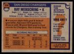 1976 Topps #304  Ray Wersching   Back Thumbnail