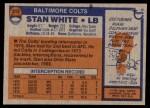 1976 Topps #312  Stan White  Back Thumbnail