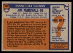 1976 Topps #385  Jim Marshall  Back Thumbnail