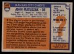 1976 Topps #403  John Matuszak  Back Thumbnail