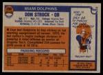1976 Topps #299  Don Strock   Back Thumbnail