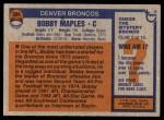 1976 Topps #384  Bobby Maples  Back Thumbnail