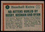 1975 Topps #7   -  Nolan Ryan / Steve Busby / Dick Bosman No-Hitters Hurled Back Thumbnail