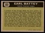 1961 Topps #582   -  Earl Battey All-Star Back Thumbnail
