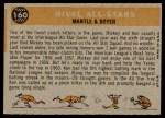 1960 Topps #160   -  Mickey Mantle / Ken Boyer Rival All-Stars Back Thumbnail