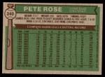 1976 Topps #240  Pete Rose  Back Thumbnail