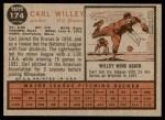 1962 Topps #174 CAP Carl Willey  Back Thumbnail