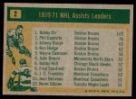 1971 Topps #2   -  Bobby Orr / Phil Esposito / Johnny Bucyk Assists Leaders Back Thumbnail