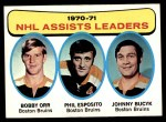 1971 Topps #2   -  Bobby Orr / Phil Esposito / Johnny Bucyk Assists Leaders Front Thumbnail