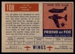 1952 Topps Wings #108   VG-90 Back Thumbnail
