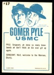 1965 Fleer Gomer Pyle #17   What'd Ya Mean Ya Can't Count Back Thumbnail