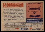 1952 Topps Wings #58   C-97 Stratofreighter Back Thumbnail