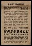 1952 Bowman #141  Hank Edwards  Back Thumbnail