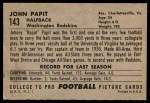 1952 Bowman Large #143  Johnny Papit  Back Thumbnail