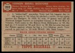1952 Topps #252  Vern Bickford  Back Thumbnail