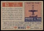 1952 Topps Wings #63   FJ Fury Back Thumbnail