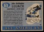 1955 Topps #52  John Lujack  Back Thumbnail