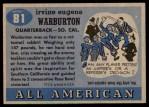 1955 Topps #81  Cotton Warburton  Back Thumbnail