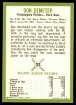 1963 Fleer #53  Don Demeter  Back Thumbnail