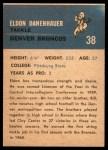 1962 Fleer #38  Eldon Danenhauer  Back Thumbnail
