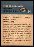 1962 Fleer #14  Elbert Dubenion  Back Thumbnail