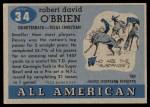 1955 Topps #34  Davey O'Brien  Back Thumbnail