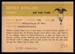 1961 Fleer #214  Dewey Bohling  Back Thumbnail