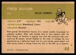 1961 Fleer #44  Fred Dugan  Back Thumbnail
