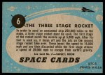 1957 Topps Space Cards #6   Three Stage Rocket Back Thumbnail