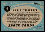 1957 Topps Space Cards #9   Radio Telescope  Back Thumbnail
