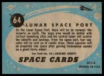 1957 Topps Space Cards #64   Lunar Spaceport Back Thumbnail