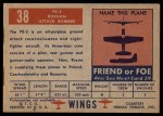 1952 Topps Wings #38   PE-2 Back Thumbnail