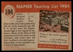 1954 Topps World on Wheels #104   Napier Touring Car 1904 Back Thumbnail