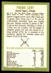1963 Fleer #14  Frank Lary  Back Thumbnail