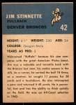 1962 Fleer #42  Jim Stinnette  Back Thumbnail