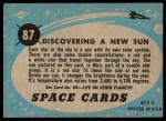 1957 Topps Space Cards #87   Discovering New Sun Back Thumbnail