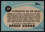 1957 Topps Space Cards #59   Gymnastics on Moon  Back Thumbnail